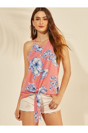 YOINS Knotted Floral Print Round Neck Sleeveless Camis