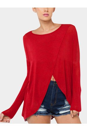 YOINS Comfy Cross Front Round Neck Top