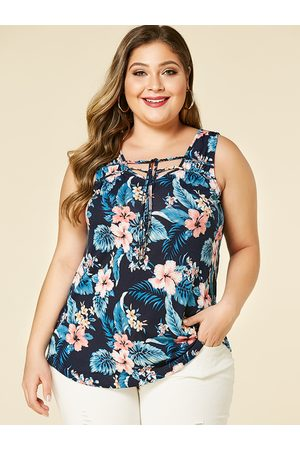 YOINS Plus Size Floral Print V-neck Lace-up Design Vest