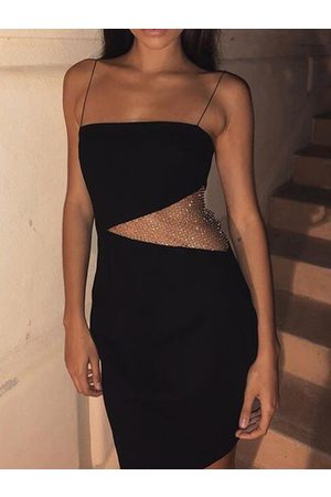 YOINS Mesh Patchwork With Backless Design Spaghetti Strap Dress