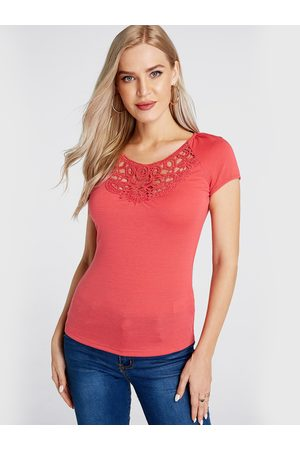 YOINS Crochet Lace Embellished Round Neck Tee