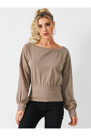 YOINS Khaki Bateau Neck Long Sleeves Knit Top