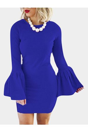YOINS Solid Color Flared Sleeves Bodycon Mini Dresses