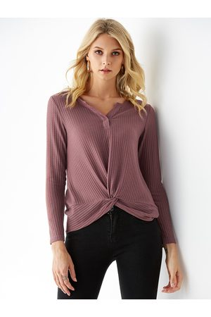 YOINS BASICS V-neck Twisted Long Sleeves Knit Top