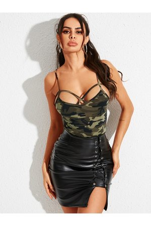 YOINS Army Green Camo Criss-cross Design Cami