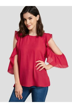 YOINS Women Short Sleeve - Cut Out Ruffle trim Short Sleeves Blouse