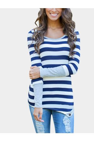 YOINS Blue Stripe Asymmetric Long Sleeve Top With Grey Cuffs