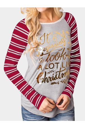 YOINS & Grey Christmas Letter Print Round Neck Stripe Long Raglan Sleeve Top