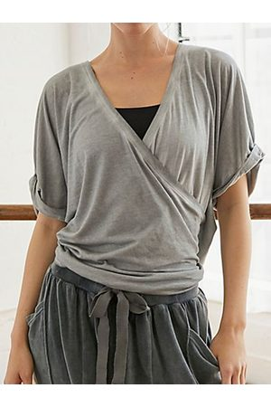 YOINS Grey Criss-cross V-neck Short Sleeves Tee