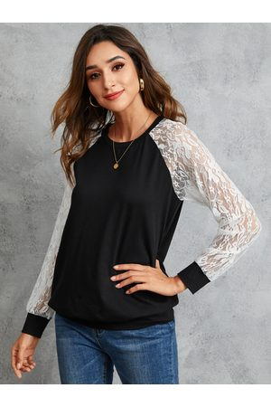 YOINS Black Lace Patchwork Round Neck Tee