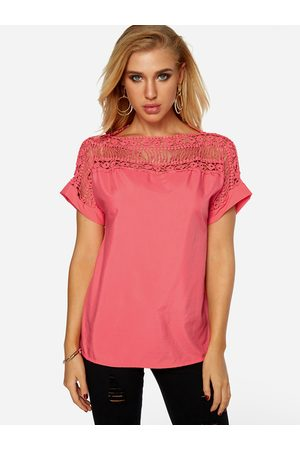 YOINS Watermelon Lace Insert Round Neck Hollow T-shirt