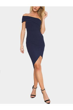 YOINS One Shoulder Irregular Hem Bodycon Mini Dress