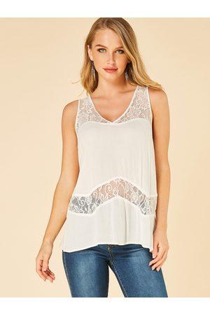 YOINS Lace V-neck See Through Tank Top