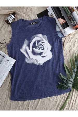 YOINS Rose Print Round Neck Tank Top