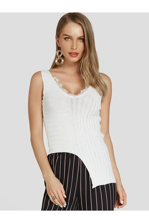 YOINS Lace Insert Tank Top With Asymmetrical Hem