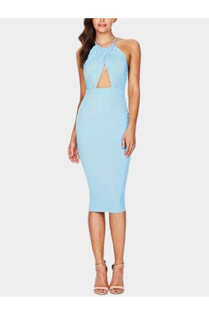 YOINS Sexy Sleeveless Halter Bodycon Midi Dress