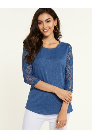 YOINS Lace Design Round Neck Long Sleeves Tee