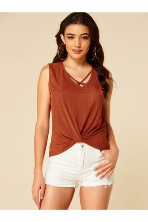 YOINS Women Vests & Camis - Rust Criss-cross Twist Design Tank Top