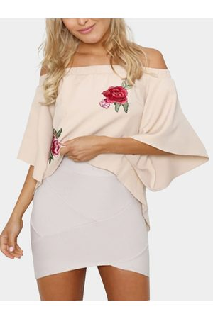 YOINS Apricot Off-The-Shoulder Embroidered Chiffon Top