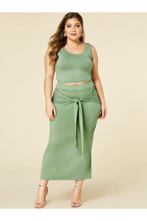 YOINS Plus Size Army Green Tie-up Design Sleeveless Two Piece Outfit