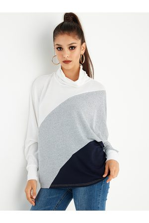 YOINS Color Block Cowl Neck Knit Top