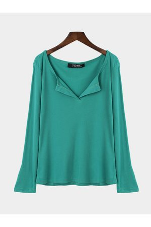 YOINS Amulet Plunge Casual Design Blouse with Long Sleeves