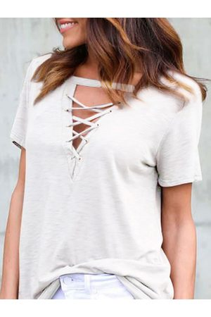 YOINS T-shirt With Lace Up Details