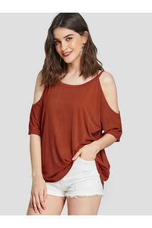 YOINS Rust Cut Out Cold Shoulder Half Sleeves Tee