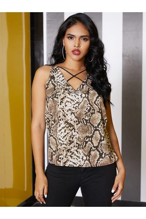 YOINS Brown Criss-cross Snakeskin V-neck Sleeveless vest