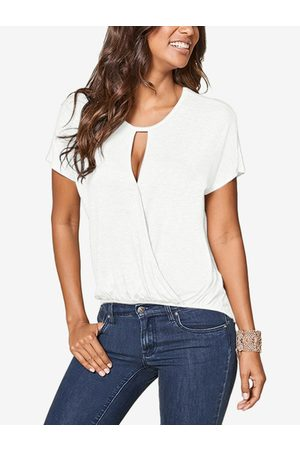 YOINS Cut Out Round Neck Short Sleeves Top