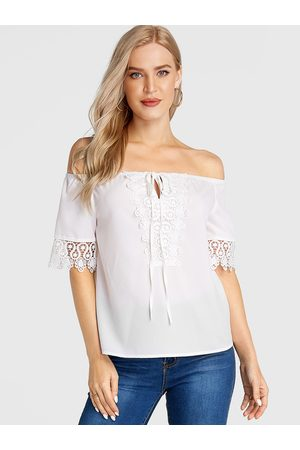 YOINS Lace Insert Cold Shoulder Half Sleeves Blouse