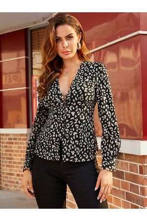 YOINS Animal Leopard Deep V Neck Blouse