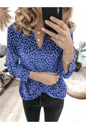 YOINS Button Design Polka Dot V-neck Long Sleeves Blouse