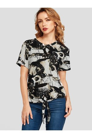 YOINS Knotted Abstract Print Round Neck Tee