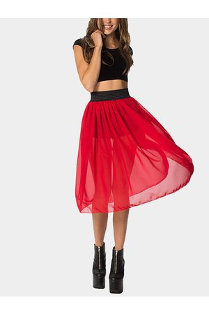 YOINS Stretch Waistband Tulle Midi Skirt in