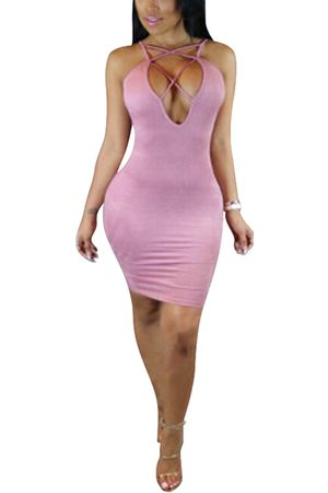 YOINS Lace-up Front Sleeveless Bodycon Hem Dresses with Thin Shoulder Straps