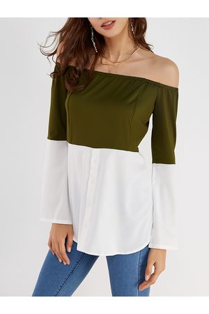YOINS Army Green & White Off Shoulder Long Sleeves T-shirt