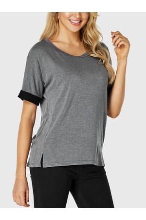YOINS Round Neck Color Matching Sleeves Tee