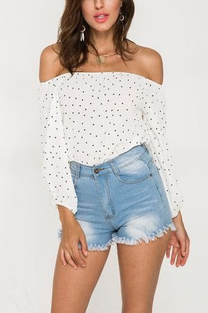 YOINS Dot Print Off-The-Shoulder Blouse in