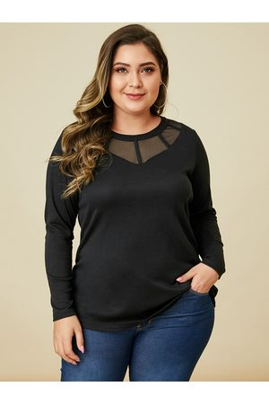 YOINS Plus Size Black Mesh Patchwork Tee
