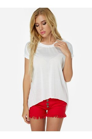 YOINS Slit Design Round Neck Short Sleeves Tee