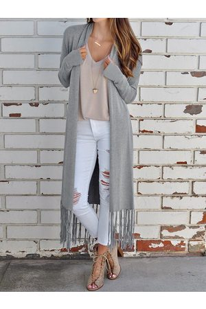 YOINS Grey Tassel Details Long Sleeves Cardigan
