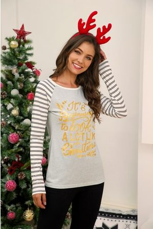 YOINS Patch Stripe Christmas Graphic Long Sleeves Tee