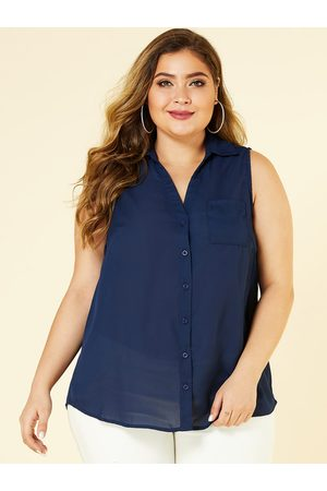 YOINS Plus Size Classic Collar Sleeveless Top