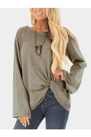 YOINS Crossed Front Design Plain Round Neck Flared Sleeves T-shirt
