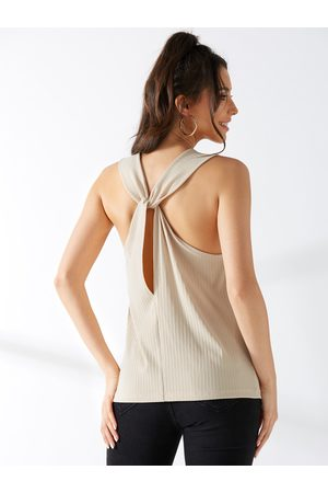 YOINS Apricot Twist Back Tank Top