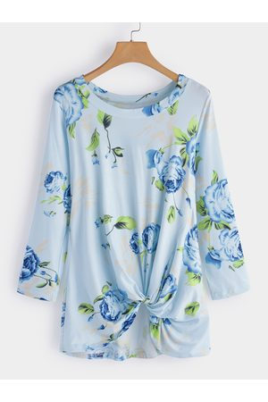 YOINS Crossed Front Design Floral Print Round Neck Long Sleeves T-shirts