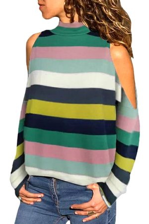 YOINS Multi Color Cold Shoulder Long Sleeves Turtleneck Tee