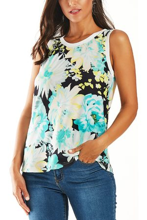 YOINS Random Floral Print Cut Out Tank Top