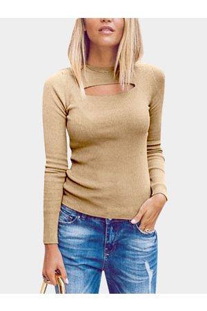 YOINS Women Long Sleeve - Knitted Round Neck Hollow Front Design Bottoming T-shirt